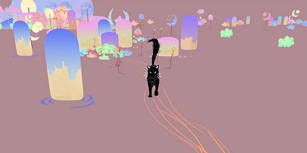 Yew the witch-cat travels through worlds with branching paths, although much of the action is effectively on rails.